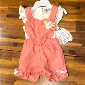 Lace overall with polka dot shirt set